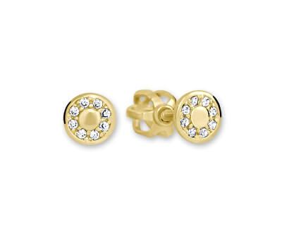 Zlaté kulaté náušnice s čirými krystaly 239 001 00701