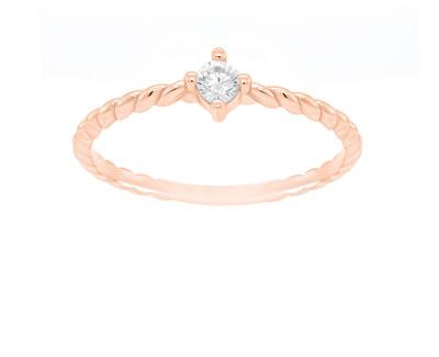 Bronzový minimalistický prsten se zirkonem GR022R