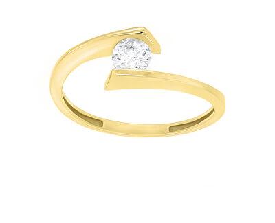 Elegantní pozlacený prsten se zirkonem SR037Y
