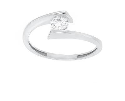 Elegantní stříbrný prsten se zirkonem SR037W