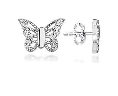 Hravé stříbrné náušnice motýlci LME0761