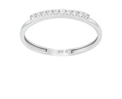 Jemný stříbrný prsten se zirkony GR067W