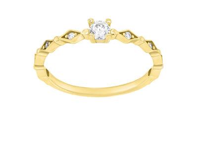 Krásný pozlacený prsten se zirkony SR035Y