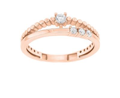 Něžný bronzový prsten se zirkony GR045R