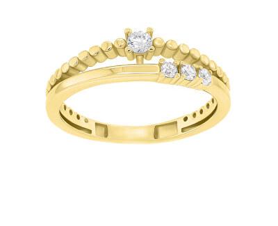Něžný pozlacený prsten se zirkony GR045Y