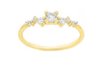 Něžný pozlacený prsten se zirkony SR038Y