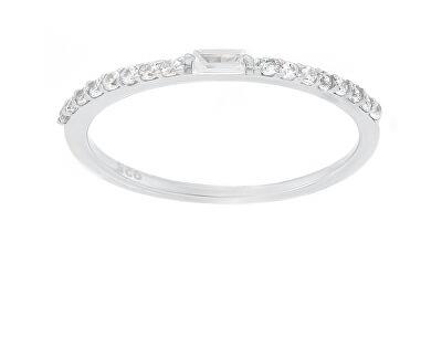 Něžný stříbrný prsten se zirkony GR006W