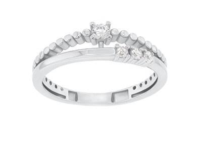 Něžný stříbrný prsten se zirkony GR045W