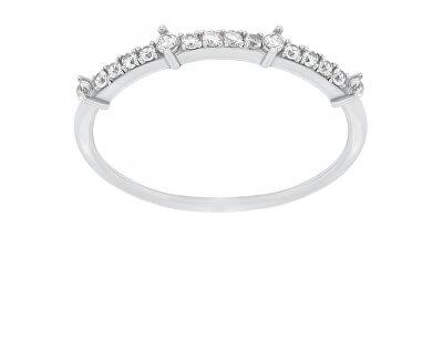 Něžný stříbrný prsten se zirkony GR075W