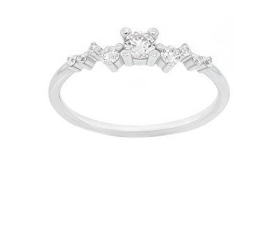 Něžný stříbrný prsten se zirkony SR038W