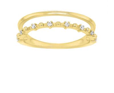 Okouzlující pozlacený prsten se zirkony GR043Y
