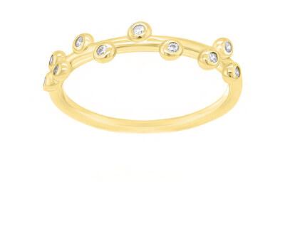 Okouzlující pozlacený prsten se zirkony GR107Y