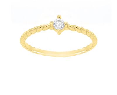 Pozlacený minimalistický prsten se zirkonem GR022Y