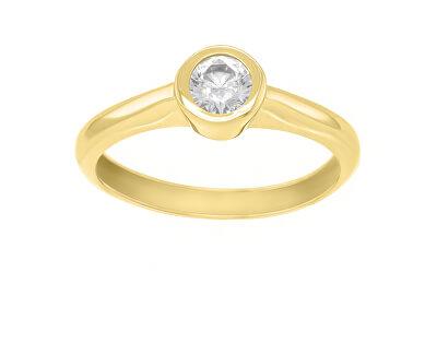 Pozlacený zásnubní prsten se zirkonem SR042Y