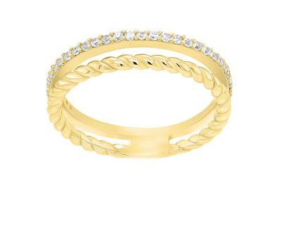 Půvabný pozlacený prsten se zirkony GR044Y