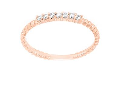 Půvabný pozlacený prsten se zirkony SR045R