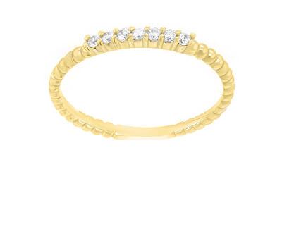 Půvabný pozlacený prsten se zirkony SR045Y
