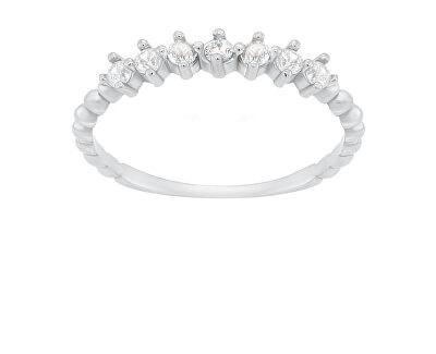 Půvabný stříbrný prsten se zirkony SR031W