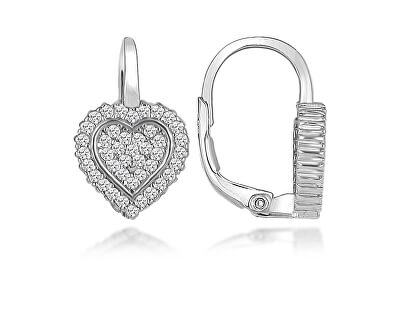 Romantické stříbrné náušnice srdíčka LME265