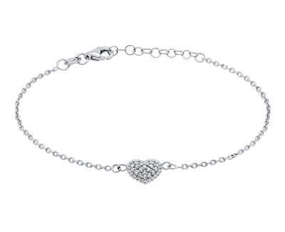 Romantický stříbrný náramek se srdíčkem BR11AW