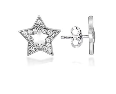 Stříbrné hvězdičkové náušnice se zirkony LME0751