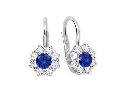 Stříbrné náušnice s krystaly 436 001 00322 04 - modré - 2,13 g