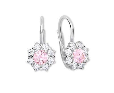 Stříbrné náušnice s krystaly 436 001 00322 04 - růžové