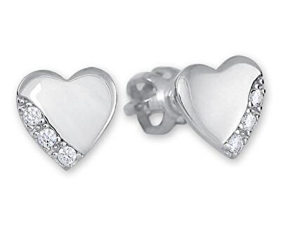 Stříbrné náušnice srdíčka s krystaly 436 001 00544 04