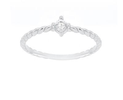 Stříbrný minimalistický prsten se zirkonem GR022W