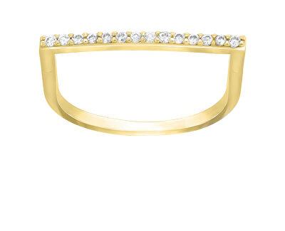 Stylový pozlacený prsten se zirkony GR062Y