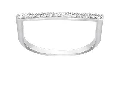 Stylový stříbrný prsten se zirkony GR062W