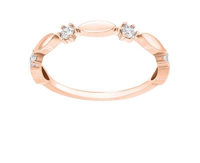 Třpytivý bronzový prsten se zirkony GR048R