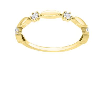 Třpytivý pozlacený prsten se zirkony GR048Y