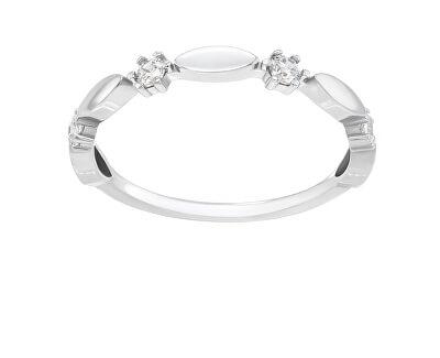 Třpytivý stříbrný prsten se zirkony GR048W