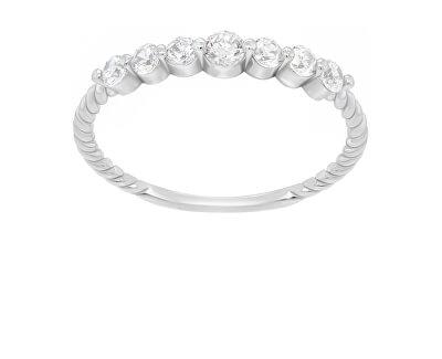 Třpytivý stříbrný prsten se zirkony GR162W