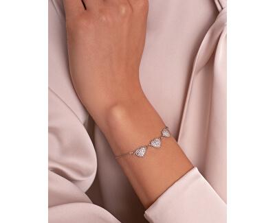 Romantický stříbrný náramek se srdíčky BR11W