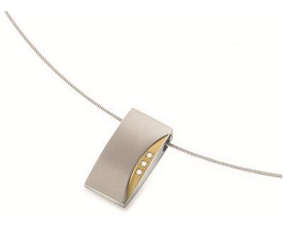 Bicolor Titan Anhänger mit echten Diamanten 0793-04