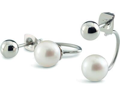 Dvojité titanové náušnice s perličkami 05019-01