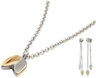 Elegantní zvýhodněná bicolor sada (náhrdelník, náušnice)