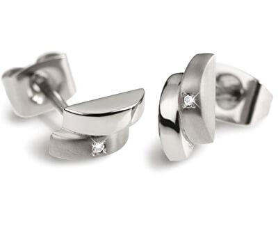 Moderní titanové náušnice s diamantem 0552-02