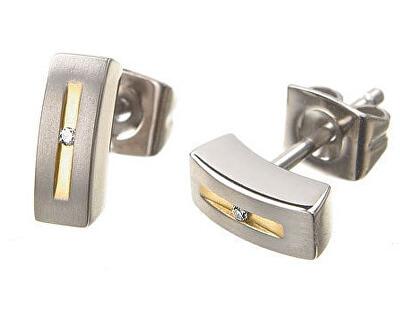Pozlátené titánové náušnice s diamantom 0515-01