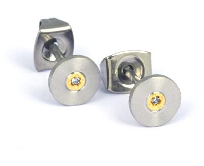 Pozlátené titánové náušnice s diamantom 0545-02