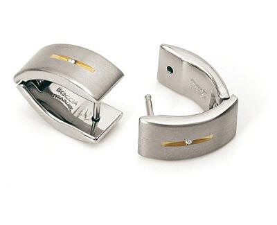 Pozlátené titánové náušnice s diamantmi 0521-03
