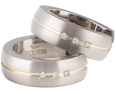 Pozlátené titánové náušnice s diamantmi 0539-10