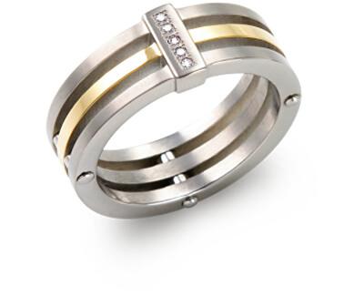 Pozlátený titánový prsteň s diamantmi 0126-02