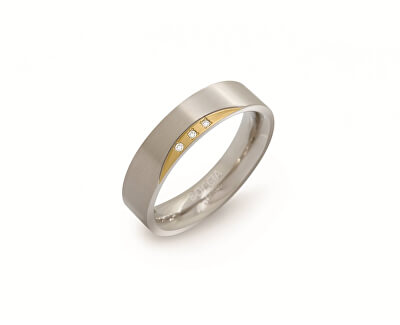 Pozlátený titánový prsteň s diamantmi 0138-04