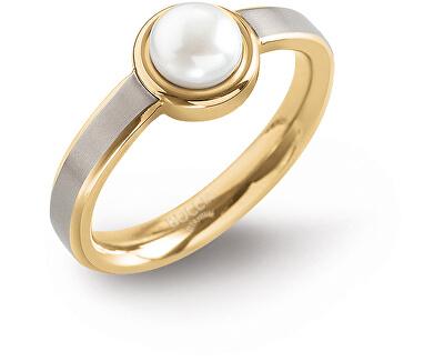 Pozlátený titánový prsteň s perlou 0137-03