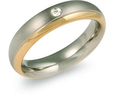 Pozlátený titánový snubný prsteň s diamantom 0130-12