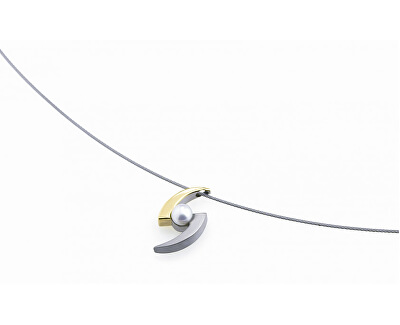 Pandantiv bicolor din titan cu o perlă 0772-02