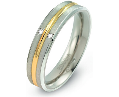 Titanový bicolor prsten s brilianty 0144-01